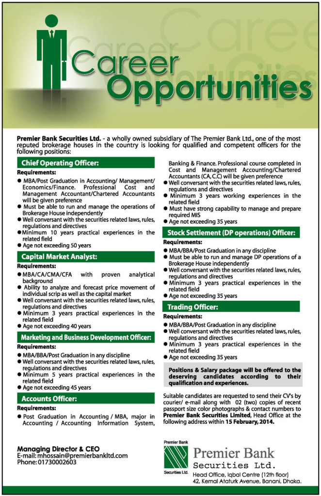 Premier Bank Securities Ltd Account Officer Job Circular 2014