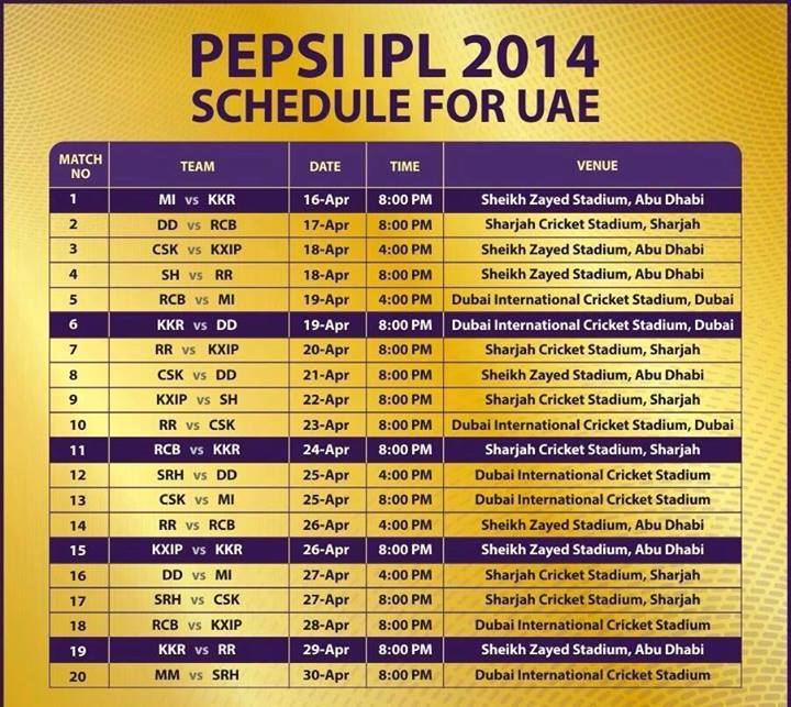 IPL (Indian Premier League) Match Fixtures/Schedule 2014