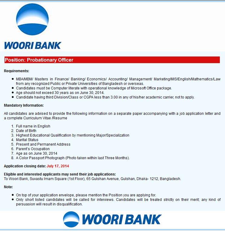 Woori Bank Probationary Officer Job circular 2014