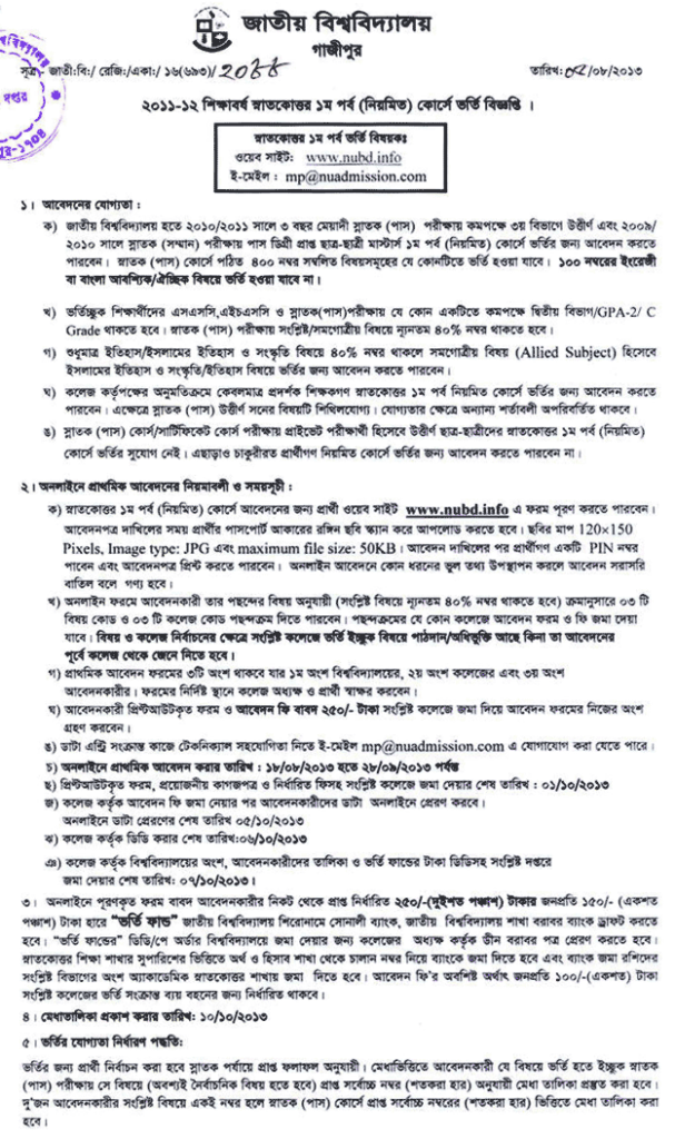 National University Masters Admission 2011-12 And Apply Online
