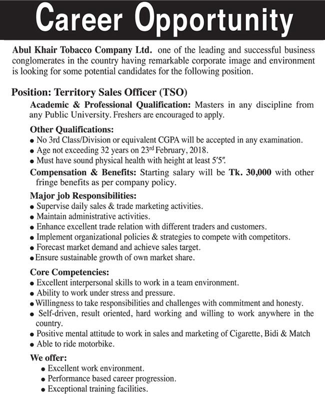 Abul Khair Tobacco Job Circular 2018